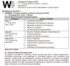 Foresec, Network Security, Keamanan jaringan, Praktisi IT, Konsultan IT, Multimatics Indonesia, Juni 2014