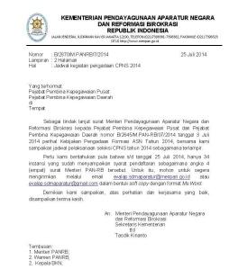 Pengumuman Terbaru Pendaftaran CPNS 2014, CPNS 2014, Surat menteri
