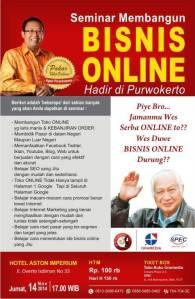 Seminar Bisnis Online, Internet Marketing Purwokerto